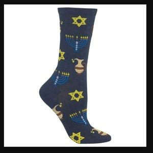 Hanukkah Socks Blue Menorah & Star of David